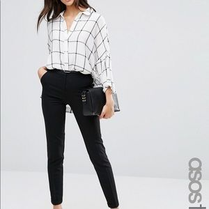 Asos Tall Cigarette Trousers With Belt Black 8